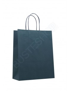 Buste in carta shopper lusso di colore blu, dimen. cm 22 + 10 x 27,50 + 5 (base + soffietto x altezza + risvolto)